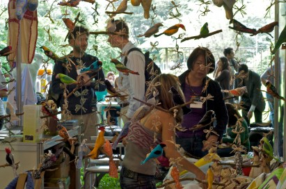 Exposição aves de madeira